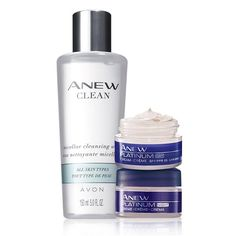 Anew Platinum Skin Care Set. Valued at $36.00, the trio includes: Anew Clean Micellar Cleansing Water, travel size Anew Platinum Day Cream SPF 25 and Night Cream.
