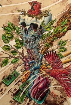 Timeline by 2 Cents Cardinal Red Bird & Skull Nest Canvas Art Print – moodswingsonthenet