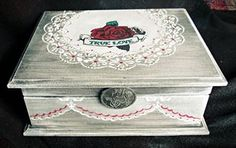 Vintage decoupage box roses white gray red shabby chic