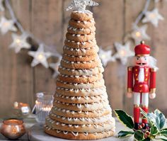 Kransekake - rings of chewy almond stacked to form a tower to create a celebration wreath cake