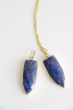 Lapis lazuli Gold Necklace Raw Crystal by VermeerJewellery on Etsy