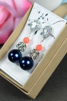 navy blue and coral wedding | https://www.etsy.com/listing/129247678/navy-blue-coral-wedding-jewelry ...