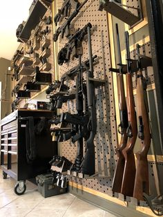 Man cave Ammo Storage, Weapon Storage, Guns And Ammo, Weapons Guns, Reloading Room, Tactical Wall, Gun Rooms, Safe Room, Secret Rooms
