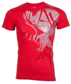 ARMANI EXCHANGE AX Mens T-Shirt EAGLE Slim RED Casual Designer  45 Jeans NWT 1c6896248d