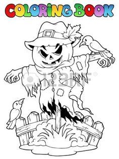 Illustration of Coloring book Halloween character illustration. vector art, clipart and stock vectors. Fall Coloring Pages, Adult Coloring Pages, Coloring Books, Diy Halloween Decorations, Halloween Crafts, Halloween Coloring Sheets, Bricolage Halloween, Halloween Scarecrow, Halloween Drawings