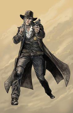 Cowboy by Brett Barkley on deviantART Character Concept, Character Art, Concept Art, Character Design, Fantasy Anime, Fantasy Art, Dnd Characters, Fantasy Characters, U2 Poster