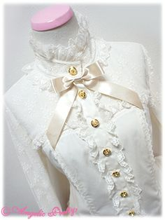 Neck and bust details of Romantic Bustier-Style Blouse by Angelic Pretty (2014)