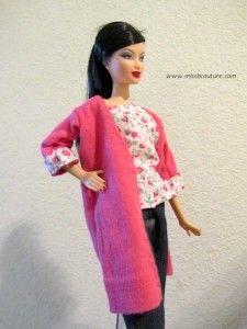 Long cardigan for Barbie Tutorial