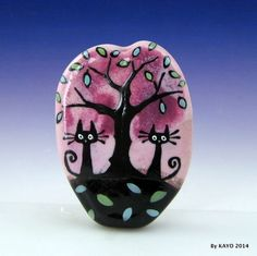"""FALLING FOR YOU"" byKAYO a Handmade AUTUMN CAT Lampwork Art Glass Focal Bead SRA #Lampwork"