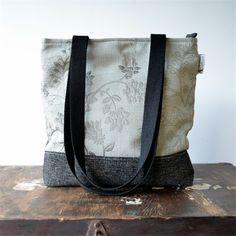 Woman's fabric handbag beige floral and charcoal. | UrbanTreeHouse Vintage&Craft | madeit.com.au