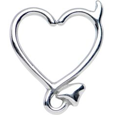 Product Details This fun stainless steel daith earring jewelry features a crafty hollow heart-devil hybrid. Simply twist ends slightly, and gently pull awa Daith Piercing Migraine, Daith Piercing Jewelry, Ear Lobe Piercings, Cartilage Earrings, Heart Earrings, Body Jewelry, Jewellery, Jewelry Box, Necklaces