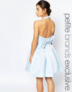 Image 1 ofTrue Decadence Petite Halterneck Prom Dress With Bow Back