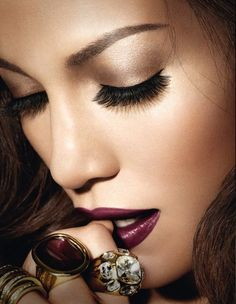love this image - makeup, eyebrows, perfect dark lips, rings, accessories - just perfect!