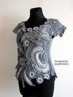 Gray Crochet Top Freeform Crochet Lace Blouse Top от MARTINELI