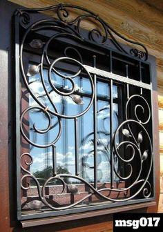 35 Interesting Window Security Bars - Home & Garden: Inspiring Interior, Outdoor and DIY Ideas Wrought Iron Decor, Wrought Iron Gates, Iron Windows, Iron Doors, Window Security Bars, Burglar Bars, Window Bars, Window Grill Design, Iron Window Grill