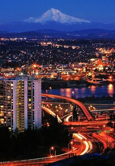 Nighttime - Mt. Hood and Portland, Oregon.  Go to www.YourTravelVideos.com or just click on photo for home videos and much more on sites like this.