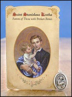 Silver Tone Saint Stanislaus Kostka Patron of Those with Broken Bones Medal and Holy Card, 1 Inch by Christian Brands Catholic -- Awesome products selected by Anna Churchill