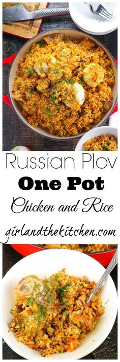 Plov is the ultimate Russian comfort food. It's a one pot chicken and rice recipe that is packed with flavors and spices and just takes a few steps to reach ultimate rice perfection. Perfect rice and tender chicken that beg you for just another bite.  Plus it's SUPER freezer friendly!  How awesome is that!