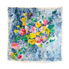 Vintage 1950's Jacques Fath Painted floral silk scarf