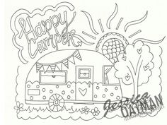 Camper Coloring Page, Coloring Pages, Vintage camper art, Camper Color Pages… Hand Embroidery Designs, Vintage Embroidery, Cross Stitch Embroidery, Embroidery Patterns, Colouring Pages, Adult Coloring Pages, Coloring Sheets, Coloring Books, Camping Theme