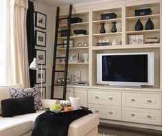 tv w/in built ins...large painting to cover?