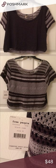NWT Free People Crochet Back Top Medium New with tags. Crochet back. Crop top. Color: Charcoal gray. No Trades please. Free People Tops Crop Tops