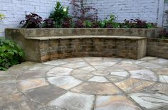 Flooring in the space will be on the form of an Indian sandstone circle measuring 3.6m in diameter. Asection of the outer ring will be elevated to form the a seat fronting a raised planting bed in the bottom left of the space. #walthamstow #londongarden #courtyard #gardendesign
