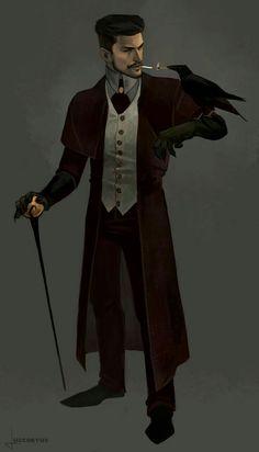 Male Human Wizard Investigator Warlock Black Hair Beard Raven