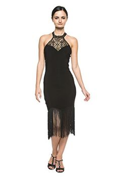 74a754bef4c25b Women High Neck Lace Black Fringe 20s Flapper Dance Evening Cocktail Party  Dress (Small)