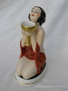 Ceramic Perfume Lamp  Wonderful hand painted nude lady night light/perfume lamp measuring 8.75 inches (22cm) high. There is a hole in the top of her head to release the heat.