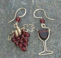Wine and grapes earrings.