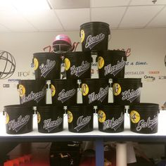 Dugout Buckets made by Rad Custom Signs. Dugout Mom, Softball Dugout, Softball Room, Softball Party, Softball Crafts, Softball Quotes, Softball Stuff, Baseball Party, Volleyball