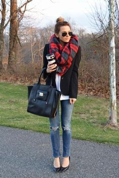 Oversized plaid scarf with a blazer and distressed jeans