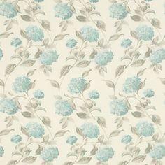 Hydrangea Duck Egg Floral Linen Mix Fabric                                                                                                                                                                                 More