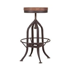 Bring some edge to the dinner table or home bar with this nifty adjustable stool. A distressed metal base and wooden seat make it look like it came straight from another era. We're fans of the cool cag...  Find the Industrial Barstool, as seen in the Mechanical Wonders at the Interval, San Francisco Collection at http://dotandbo.com/collections/mechanical-wonders-at-the-interval-sf?utm_source=pinterest&utm_medium=organic&db_sku=MOE0054