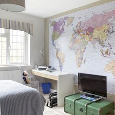 Teen boy's room with map mural | Boys' bedroom design ideas | Childrens bedroom | PHOTO GALLERY | Ideal Home | Housetohome.co.uk