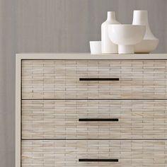 Wood Tiled Dresser from west elm - living room storage Modern Home Furniture, Find Furniture, Furniture Design, 3 Drawer Dresser, Home Bedroom, Master Bedroom, Bedrooms, Bedroom Decor, Interior Design Living Room