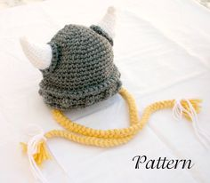 Viking baby hat PDF crochet pattern 6-36 month gray white yellow beanie cap horns braided Norse costume infant grey hair soft helmet. $3.50, via Etsy.