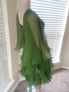 VTG 60's Miss Elliette Green Sheer Chiffon Pleated Ruffles Cocktail Party Dress $19.99