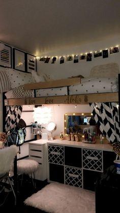 55 Genius Dorm Room Organization Ideas - Home Decoration Ideas Diy Projects Dorm Room, Dorm Room Designs, Bedroom Designs, Small Apartment Bedrooms, Small Apartments, Bedroom Small, Trendy Bedroom, Modern Bedroom, Dorm Room Organisation