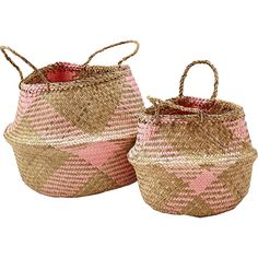 Set Of 2 Pink & Natural Straw Baskets: Liv Interiors pink and straw basket duo will add a cheerful spark to any room.  A more playful take on the minimal plain straw versions we love this feminine version and can imagine them working perfectly in any boudoir, bathroom or living space.