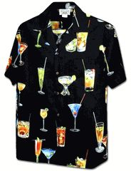 100% Poplin Cotton, Pacific Legend Brand.  Created with Hawaii tropical Polynesian drinks. Maui Polynesian Cocktails Men's cotton Aloha shirt created in Navy Blue and Black. MauiShirts search box stock number: 410-3498
