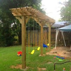 Teak couch made into a pergola swing for the yard for Diy adult swing set