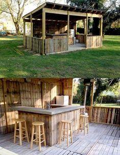 Image of: diy pallet patio bar backyard bar made stair diy pallet patio decks with Outdoor Pallet Bar, Pallet Patio, Outdoor Kitchen Design, Outdoor Bars, Pallet Wood, Outdoor Kitchens, Design Kitchen, Pallet Benches, Garden Pallet