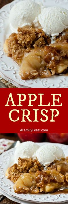 Crisp A classic, decades-old New England Apple Crisp recipe from Tougas Family Farm. This is the best apple crisp recipe ever!A classic, decades-old New England Apple Crisp recipe from Tougas Family Farm. This is the best apple crisp recipe ever! Apple Dessert Recipes, Köstliche Desserts, Fruit Recipes, Fall Recipes, Cooking Recipes, Diabetic Recipes, Light Desserts, Healthy Desserts, Thanksgiving Recipes