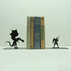 Dragon & Knight Metal Art Bookends  Free USA por KnobCreekMetalArts