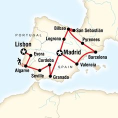 Map of the route for Ultimate Spain & Portugal