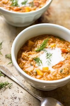 heirloom bean stew with dill + coconut cream - The Clever Carrot