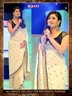 off white  ambroidery georgette  party wear saree with blouse Sarees on Shimply.com