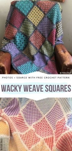 CALs To Try This Summer Free Crochet Patterns - Free Crochet Patterns Wacky Weave Squares Free Crochet Pattern Crochet Blocks, Crochet Squares, Crochet Motif, Crochet Yarn, Crochet Afghans, Crochet Square Blanket, Afghan Crochet, Granny Squares, Afghan Patterns